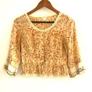 Anthropologie/Snak Silk Ruffle Top